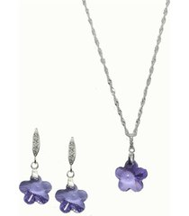 conjunto floral con swarovski violeta joyas montero