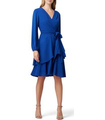 women's tahari long sleeve faux wrap dress