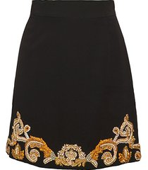 embellished cady silk a-line skirt