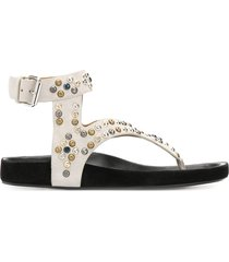 isabel marant elwina stud-embellished thong sandals - neutrals