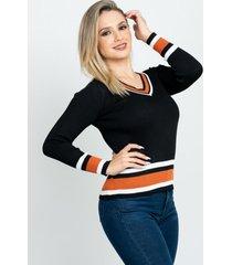 sweater cuello v con franja negro 609 seisceronueve