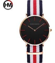 relojes de cuarzo de nylon para hombres y mujeres-rojo