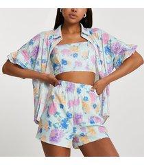 river island womens blue short sleeve embellished floral shorts