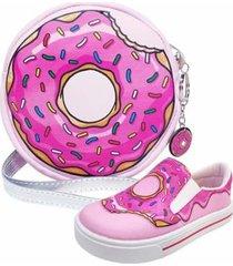 kit infantil bolsa + tênis donut's, magicc kids feminino - feminino
