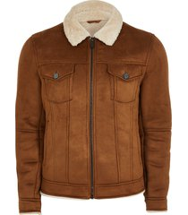 river island mens brown borg lined faux suede western jacket