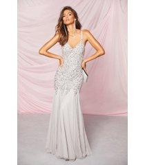 bridesmaid hand embellished godet mesh maxi dress, grey