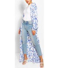 porcelain print maxi kimono, white