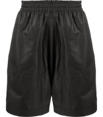 bottega veneta track leather shorts - black