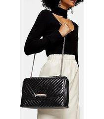 solo black quilted shoulder bag - black