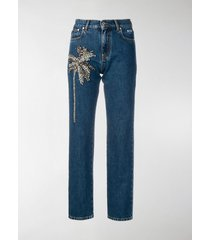 msgm palm tree-embellished jeans