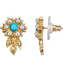 downton abbey gold-tone simulated pearl and imitation turquoise flower earrings