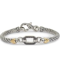 women's konstantino hermione silver & gold bracelet with black diamonds