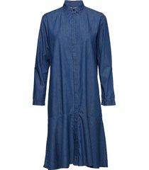 indigo summer downy frill jurk knielengte blauw mads nørgaard