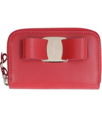 salvatore ferragamo leather wallet with vara ribbon
