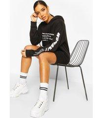 woman sleeve print graphic hoodie dress, black
