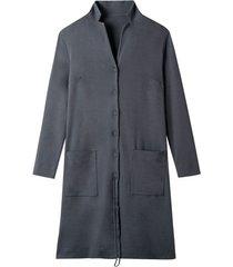 jersey mantel met verstelbare revers, leisteen 42