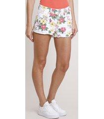 short de sarja feminino boy cintura média estampado floral branco