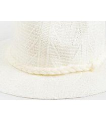 danielle pattern trim panama hat - ivory