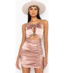 akira 50 shades of slay lace up satin ruched mini dress