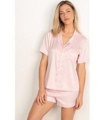 pijama conjunto curto em cetim rosê