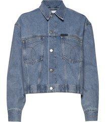cropped over d trucker jeansjack denimjack blauw calvin klein jeans