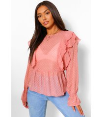 geweven dobby peplum top met ruches, rose