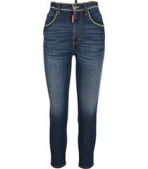 dsquared2 d squared high-waisted chain-trim cropped jeans