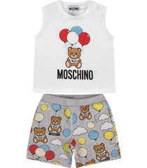moschino white and grey babyboy suit with teddy bear and balloons