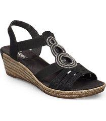 62459-00 sandalette med klack espadrilles svart rieker