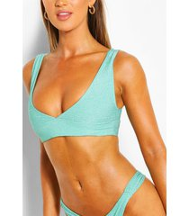 mix & match glitter triangle crop bikini top, aqua