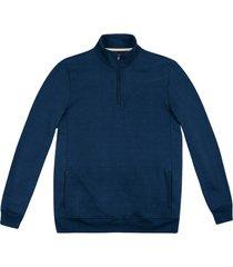 blusão hering moletom com zíper e bolso azul