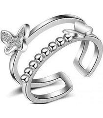 anillo mariposa 2 bandas casual arany joyas