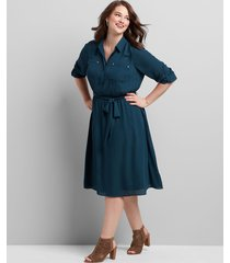 lane bryant women's button-front fit & flare dress 12 moody jade