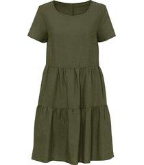 abito in misto lino con tencel™ lyocell (verde) - bodyflirt
