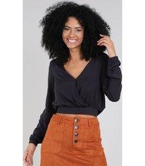 blusa feminina cropped transpassada com amarração manga longa decote v preta