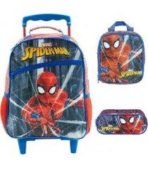 kit mochila xeryus homem aranha protetor de rodinhas com lancheira e estojo