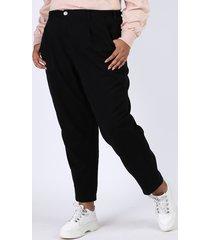 calça de sarja feminina plus size mindset slouchy cintura alta preta