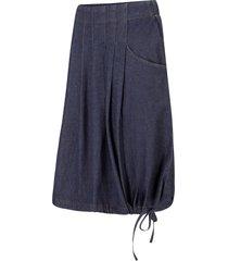 gonna di jeans elasticizzata con pieghe, cintura e laccetto (blu) - bpc bonprix collection