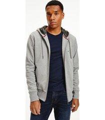 tommy hilfiger men's organic cotton teddy-lined hoodie medium grey heather - s
