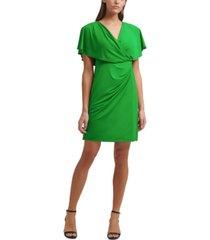 kensie draped blouson a-line dress