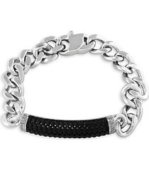 sterling silver, black rhodium-plated & white sapphire square wheat chain bracelet
