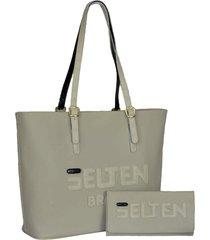 kit bolsa sacola grande com carteira creme
