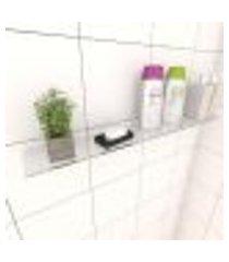 kit com uma prateleira para banheiro 60 cm vidro temperado