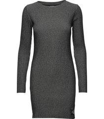 long sleeve rib dress stickad klänning grå calvin klein jeans
