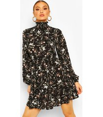 bloemenprint skater jurk met hoge hals, zwart