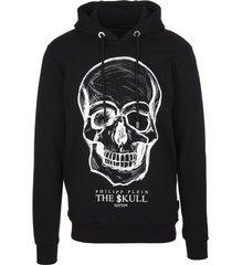 philipp plein man black hoodie with printed skull