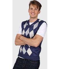 sweater azul moni tricot rombos