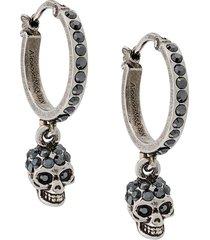 alexander mcqueen woman antique silver skull hoop earrings