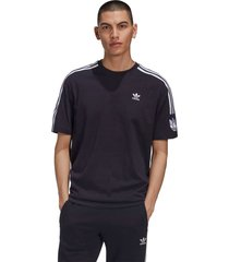 camiseta adidas originals adicolor 3d trefoil 3-stripes preto