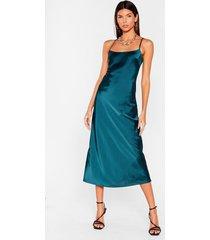 womens take a sleek peak satin midi dress - dark green